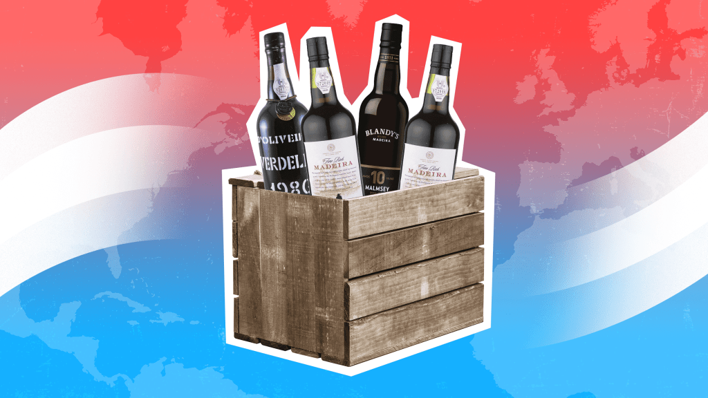 A wooden crate containing bottles of Madeira against a stylized representation of red, white and blue