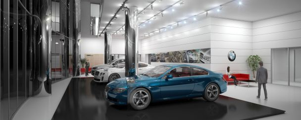 Perspective intérieure - Concessionnaire BMW - ARCHITECTE : HALIM FAIDI - STUDIO A