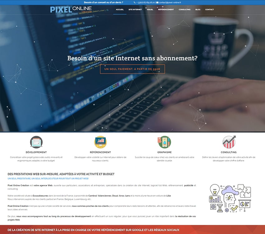 Pixel Online Création site vitrine avec développement spécifique sur Wordpress