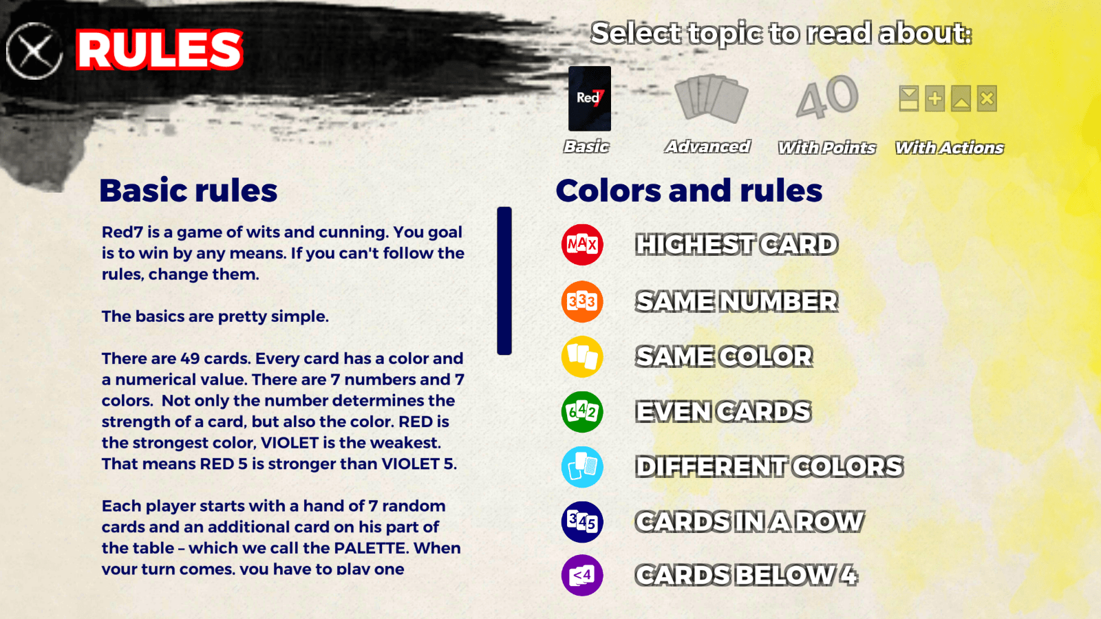 Red 7 - rules