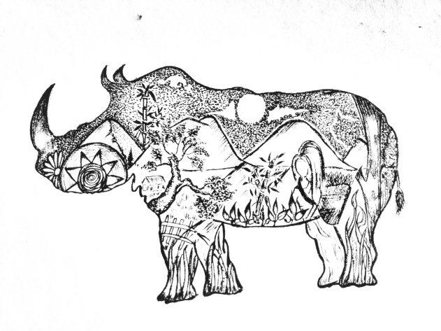 Assam rhino art drawing