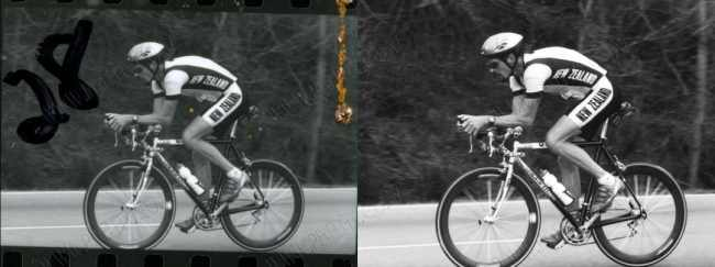 black and white cycling photo restoration.