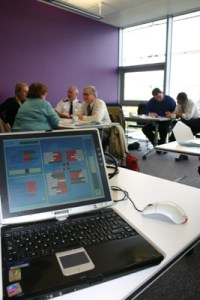 Delivering a collaborative workshop at Barnsley Townhall using Planit-Sustainability learning simuation.