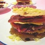 Millefoglie di Parmigiano con Tonno Fresco e Radicchio di Chioggia all'Aceto Balsamico