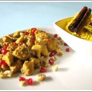 Stufato Iraniano di Petto di Pollo in Salsa di Noci e Melagrana (Persian Khoresh-e Fesenjan) con Riso Pilaf allo Zafferano