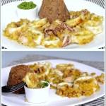 Calamaretti in Crosta di Pane al Limone con Budini di Lenticchie e Pesto di Erba Cipollina e Nocciole