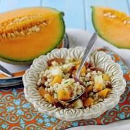 Insalata di Orzo con Melone, Provola e Culatello Croccante