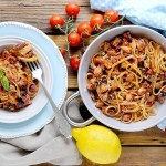 Linguine con Polpo, Pomodorini e Olive al Profumo di Limone