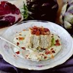 Sformatini di Gambi di Carciofo con Fonduta di Parmigiano alla Maggiorana e Culatello Croccante