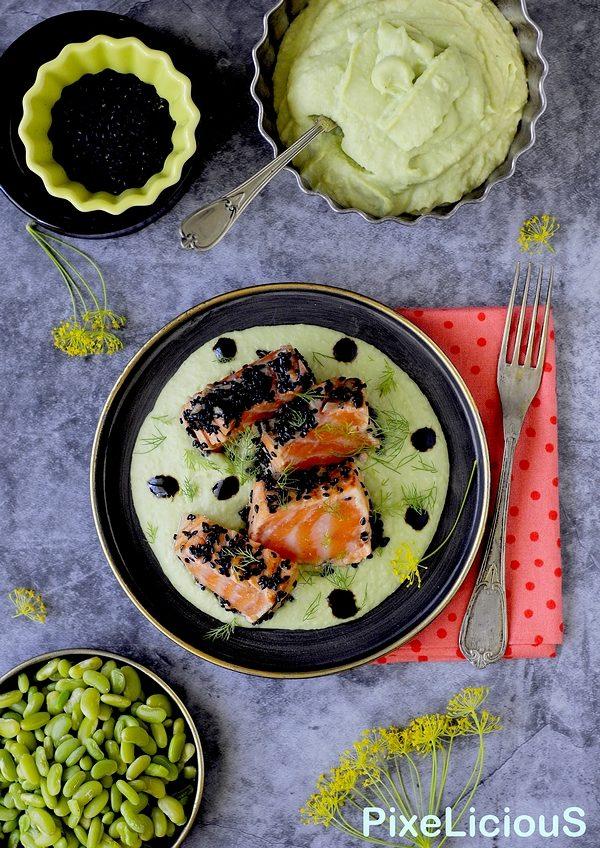 tataki di salmone marinato su crema di fagioli verdi e aneto