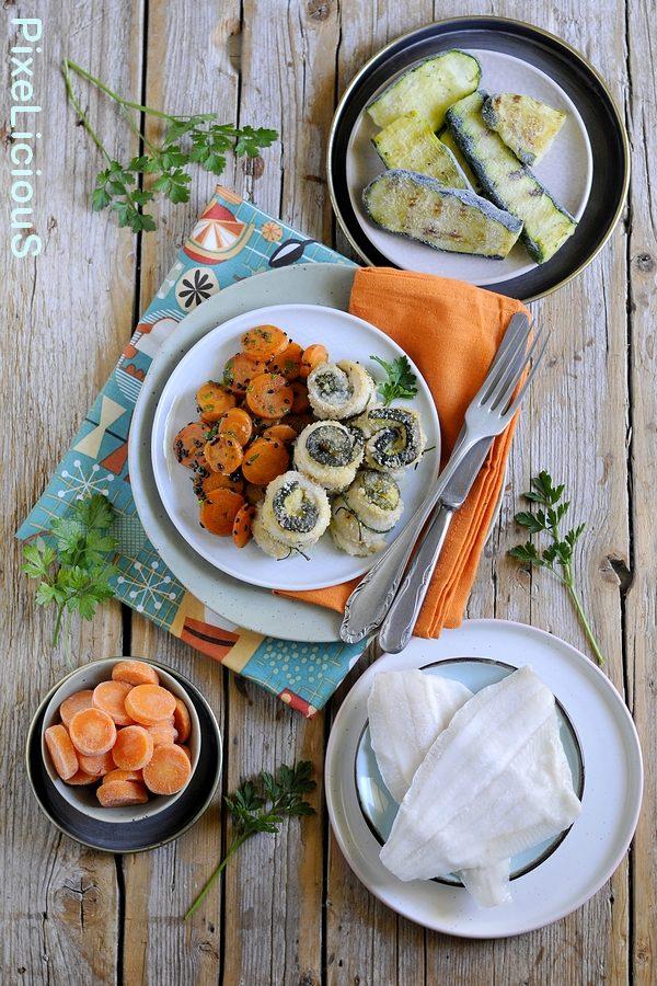 Involtini Gratinati di Platessa e Zucchine Grigliate con Carote in Padella