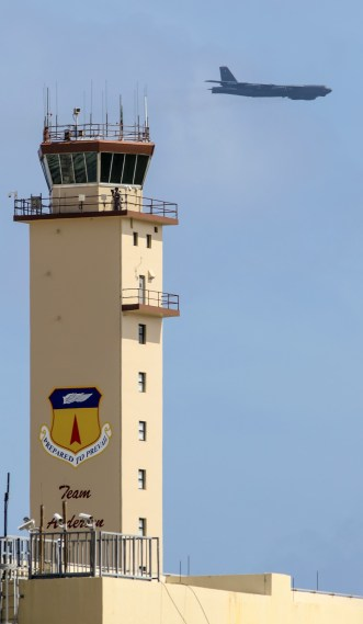 Andersen AFB tower and B52