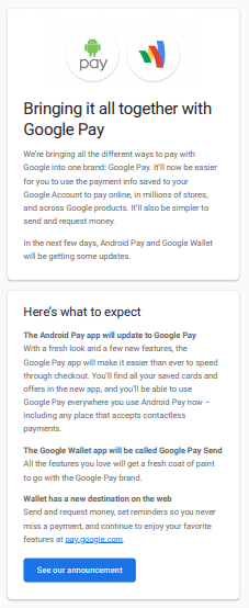 Android Pay and Google Wallet officially get rebranded as