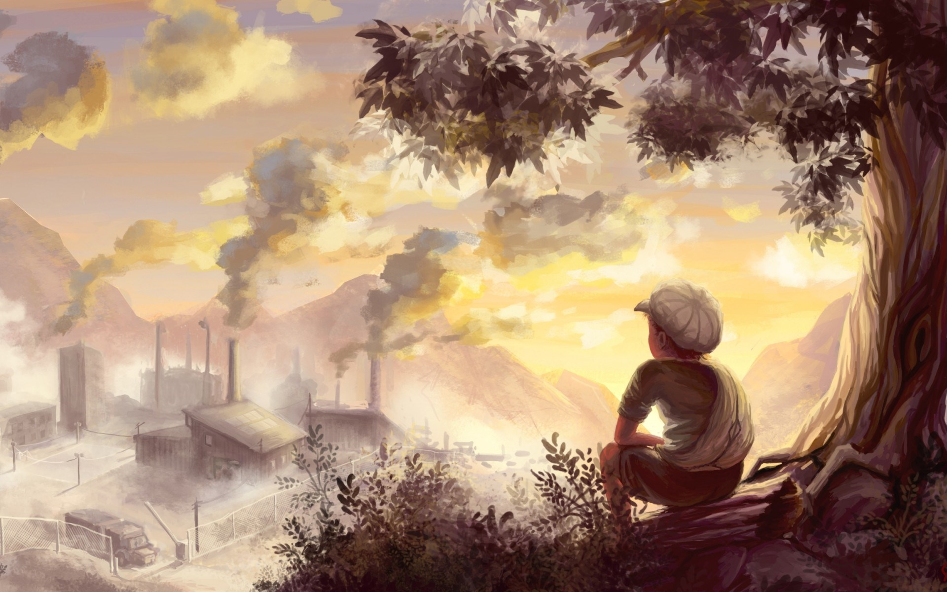 Landscape Color Drawing HD Wallpaper | Wallpapers ...