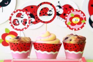 Ladybug Birthday Party Toppers by Pixiebear Party Printables