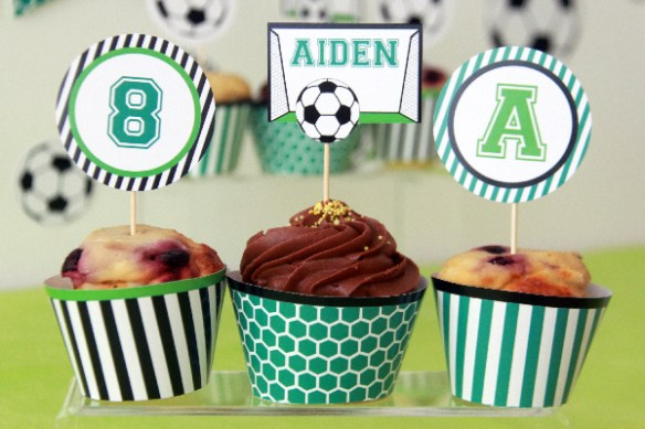 Soccer Birthday Cupcake Toppers by Pixiebear Party Printables