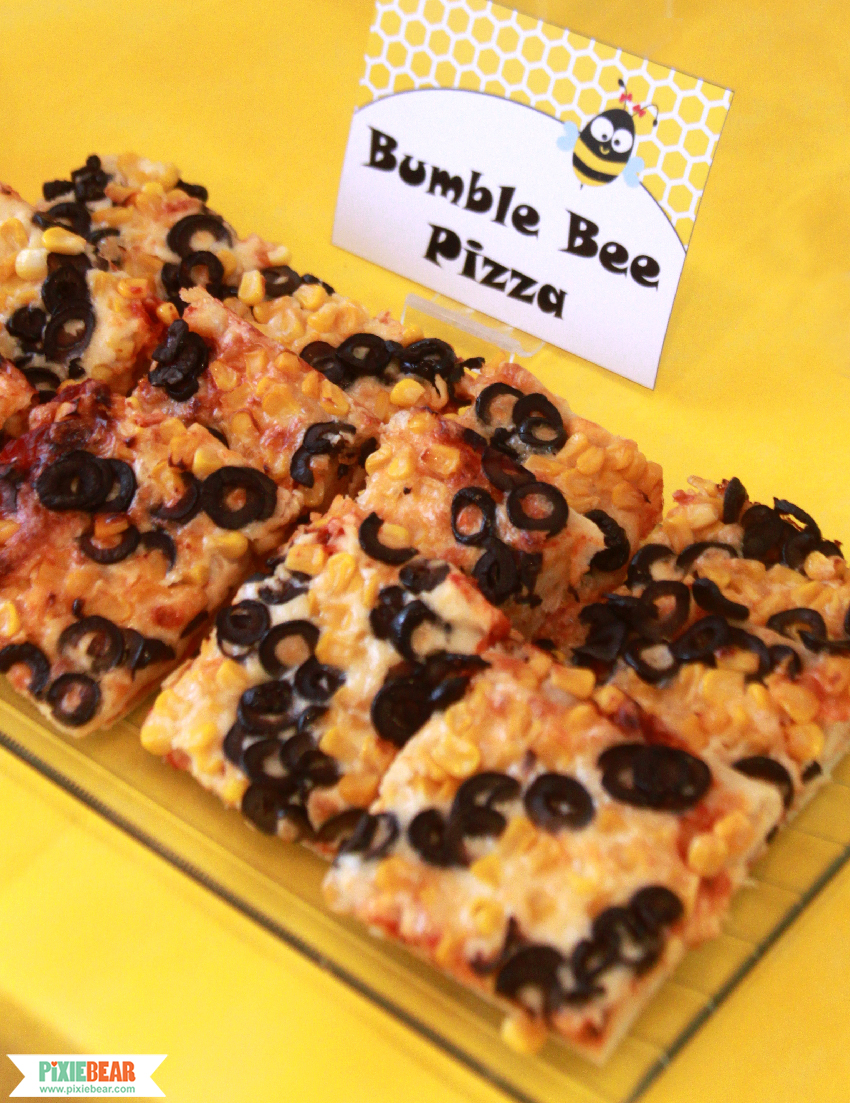 how to make a bumble bee pizza pixiebear party printables