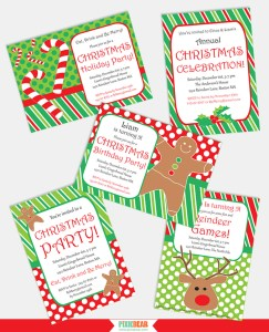 Printable Christmas Invitations by Pixiebear Party Printables