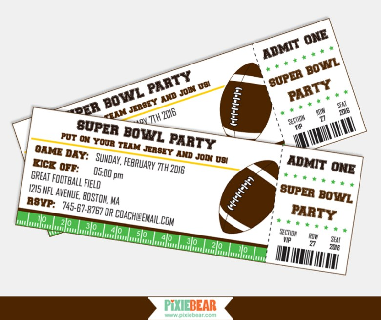 Super Bowl Party Invitations by Pixiebear Party Printbales