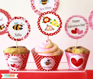 Bee My Valentine Party Decorations by Pixiebear Party Printables