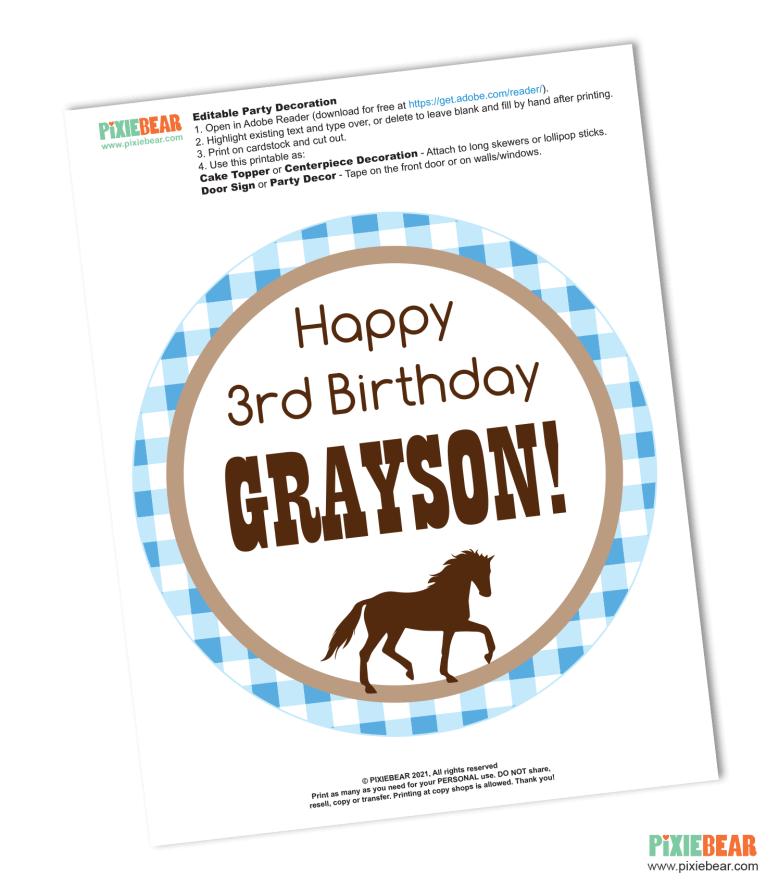 Horse Birthday Party Free Printable by Pixiebear