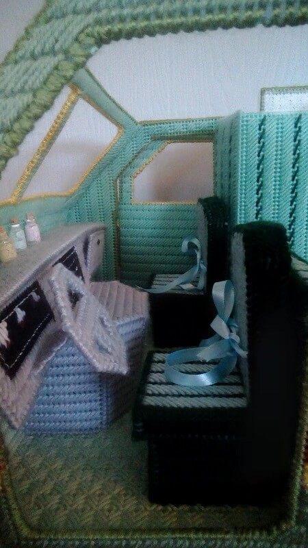 Plastic Canvas Dream Camper Front Seat.