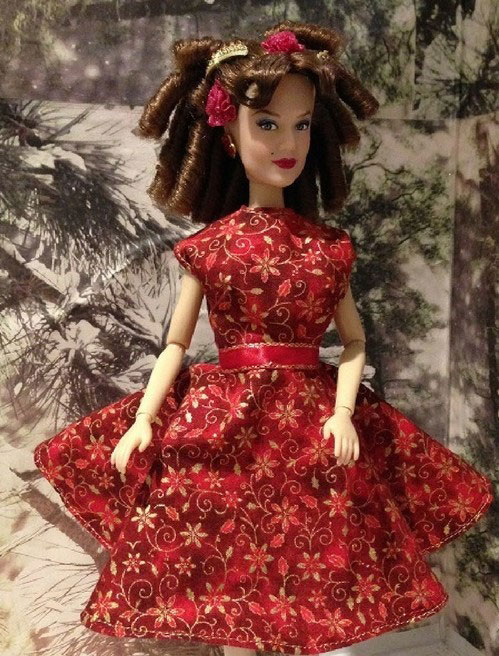 Anastasia Doll Wearing Red Dress