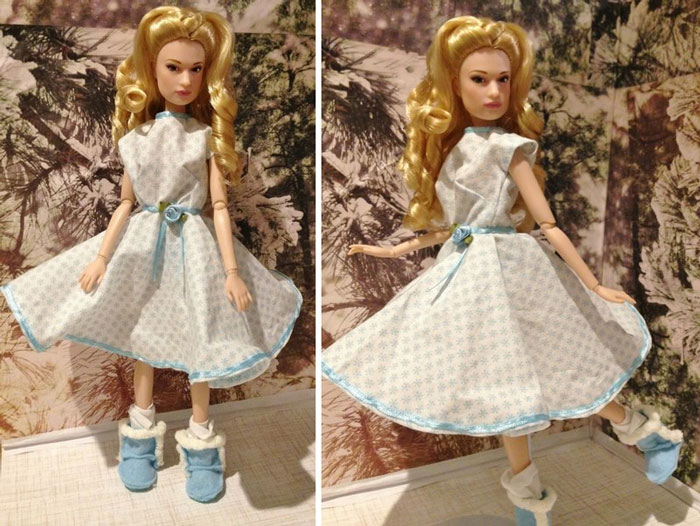 Cinderella Wearing Snowflake Dress