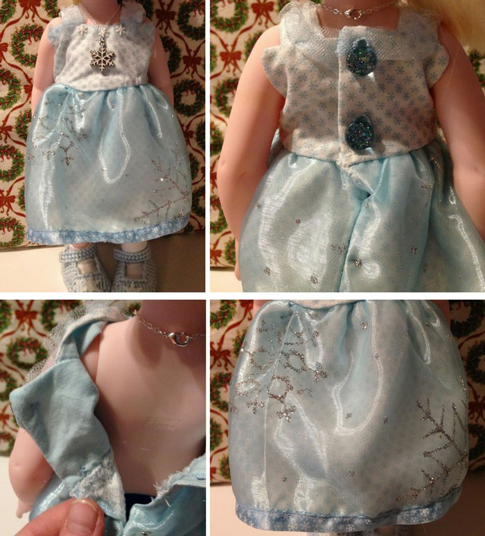 Blue Snowflake Dress For Disney Animator Doll