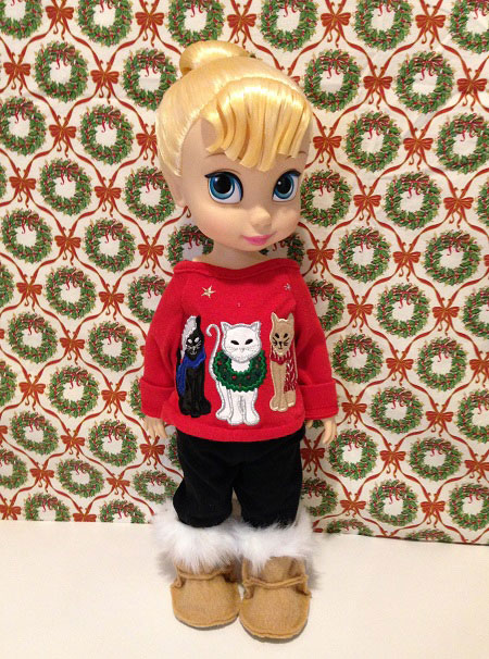 Tinker Bell Wearing Red Christmas Outfit