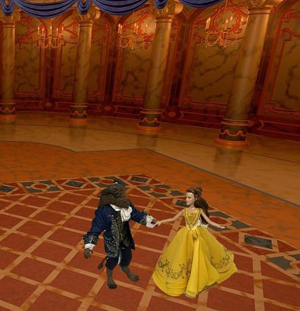 Image Of Belle And Beast Dolls In Ballroom