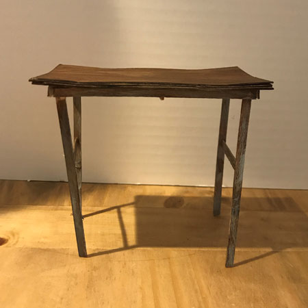 Doll Table Made From Popsicle Sticks And Painted Brown