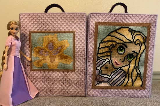 Plastic Canvas Doll Travel Case Inspired By Tangled (Back)