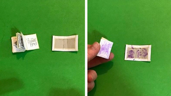 Apply glue to book cover and first and last pages of page strips.