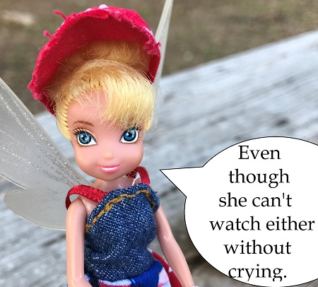Even though she can't watch either without crying!