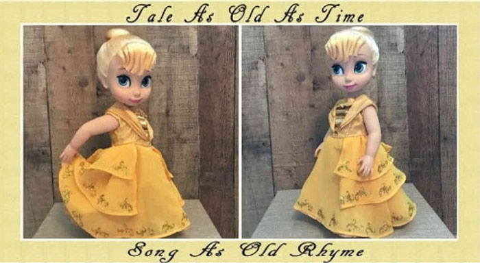 Beauty and The Beast Dress For Disney Animator Doll.