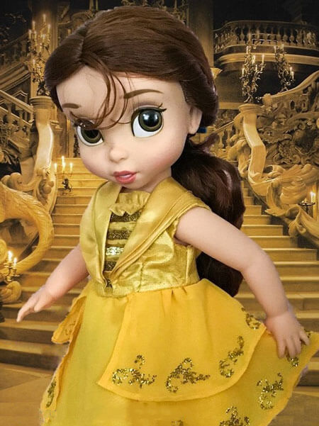 Animator Belle Wearing Yellow Ball Gown With Ballroom Background