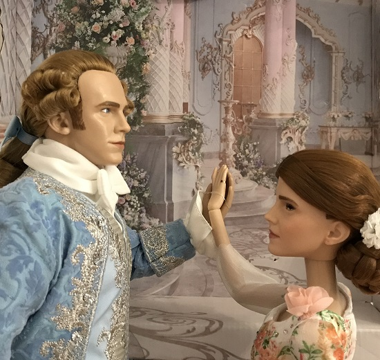Platinum Edition Belle And Prince Dolls With Ballroom Background