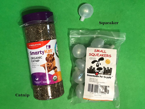 Squeaker and catnip for DIY cat toy.