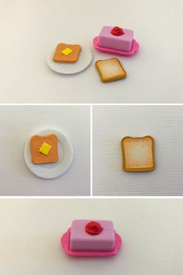 Disney Shopkins Blind Box Belle's Kitchen Decor: Toast And Butter Dish.