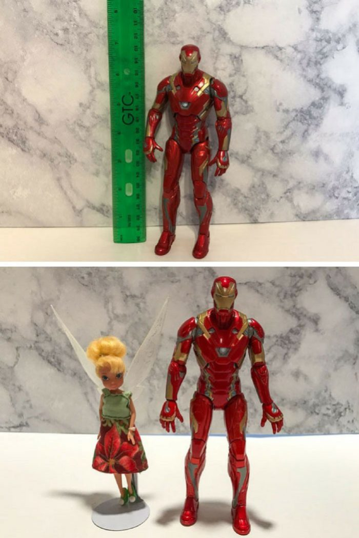 Image showing Iron Man action figure height.