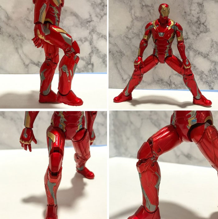 Leg and knee joints on action figure.