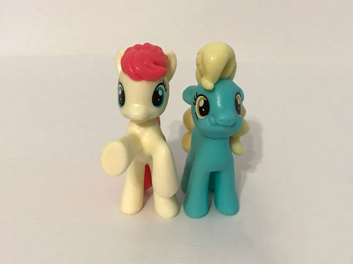 My Little Pony Mini Figures: Mare E. Belle and Mare E. Lynn.