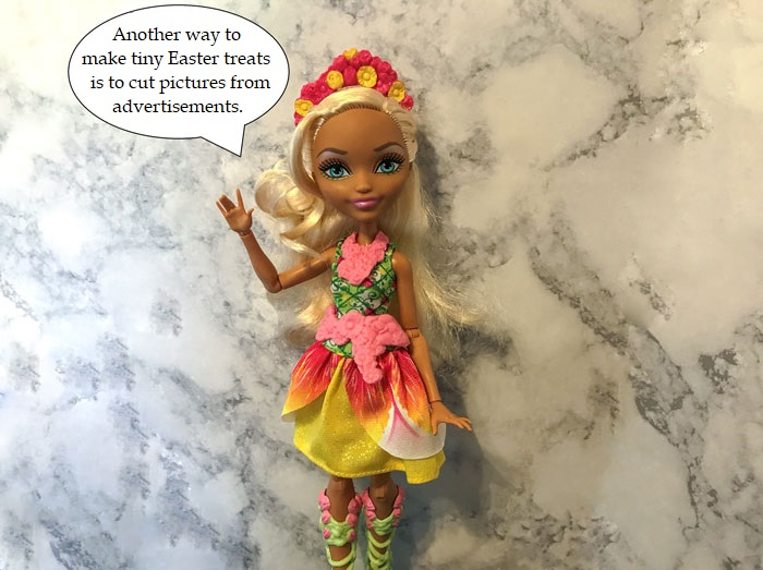 Recycle advertisements to make miniature doll treats.