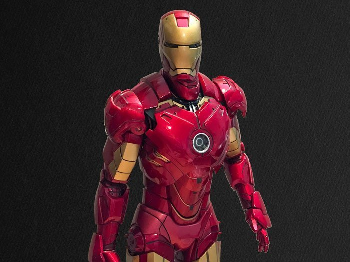 Hot Toys Iron Man Mark IV with black background.