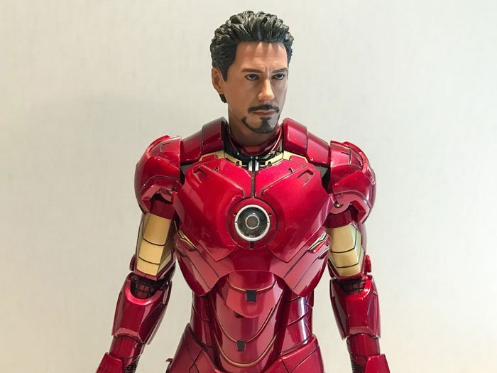 Iron Man Mark IV Hot Toys figure with Tony Stark head sculpt.