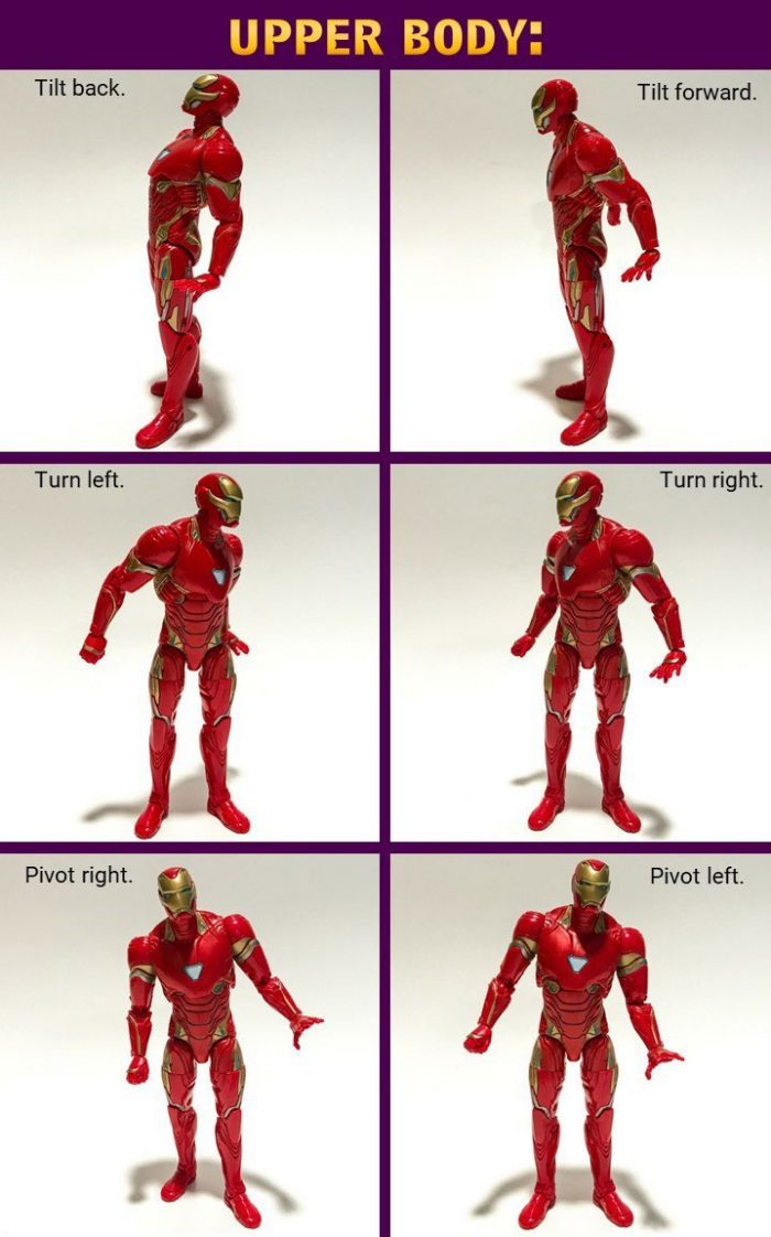 Iron Man action figure upper body movement.