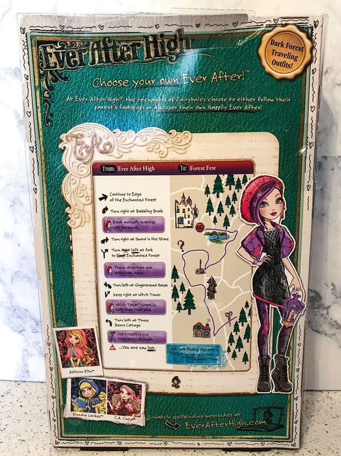 The back of Poppy O'Hair's box has a map with messages.