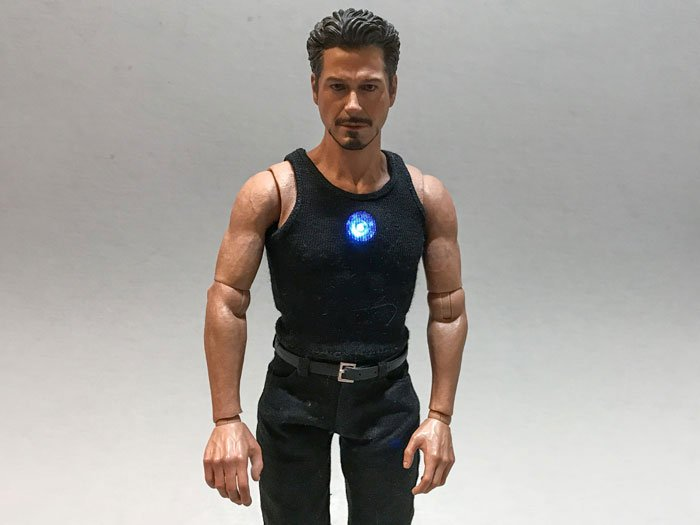 Tony Stark Hot Toys figure with led light-up arc reactor.