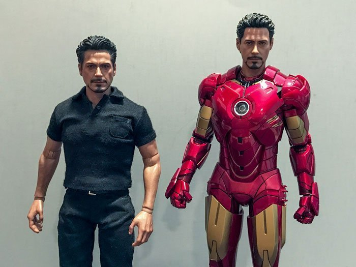 Hot Toys' Tony Stark compared to Hot Toys' Mark IV.
